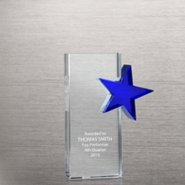 Crystal Side Blue Star Trophy